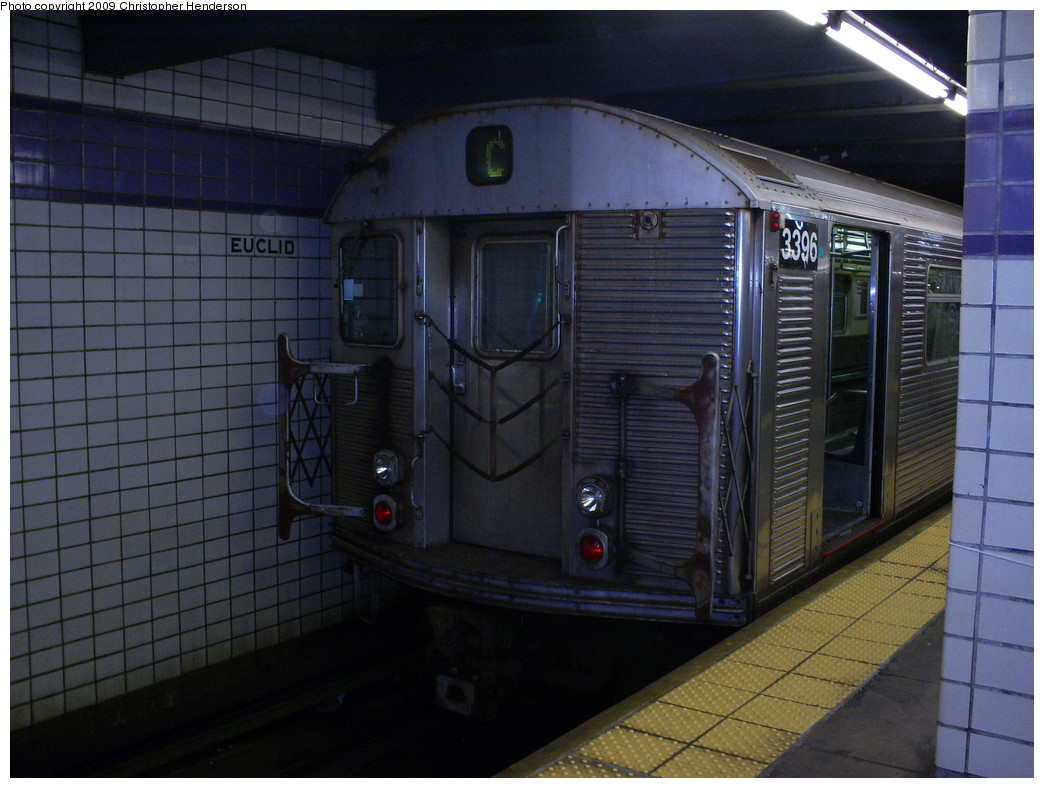 (242k, 1044x788)<br><b>Country:</b> United States<br><b>City:</b> New York<br><b>System:</b> New York City Transit<br><b>Line:</b> IND Fulton Street Line<br><b>Location:</b> Euclid Avenue <br><b>Route:</b> C<br><b>Car:</b> R-32 (Budd, 1964)  3396 <br><b>Photo by:</b> Christopher Henderson<br><b>Date:</b> 5/8/2009<br><b>Viewed (this week/total):</b> 0 / 694