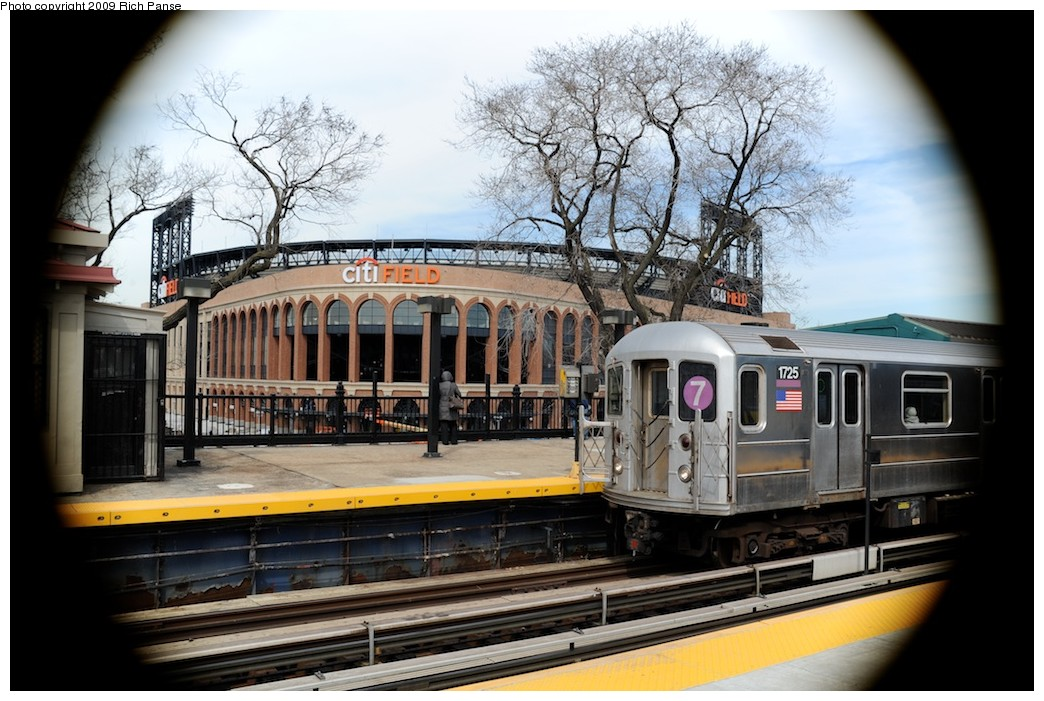 (200k, 1044x701)<br><b>Country:</b> United States<br><b>City:</b> New York<br><b>System:</b> New York City Transit<br><b>Line:</b> IRT Flushing Line<br><b>Location:</b> Willets Point/Mets (fmr. Shea Stadium) <br><b>Route:</b> 7<br><b>Car:</b> R-62A (Bombardier, 1984-1987)  1725 <br><b>Photo by:</b> Richard Panse<br><b>Date:</b> 3/25/2009<br><b>Viewed (this week/total):</b> 2 / 825