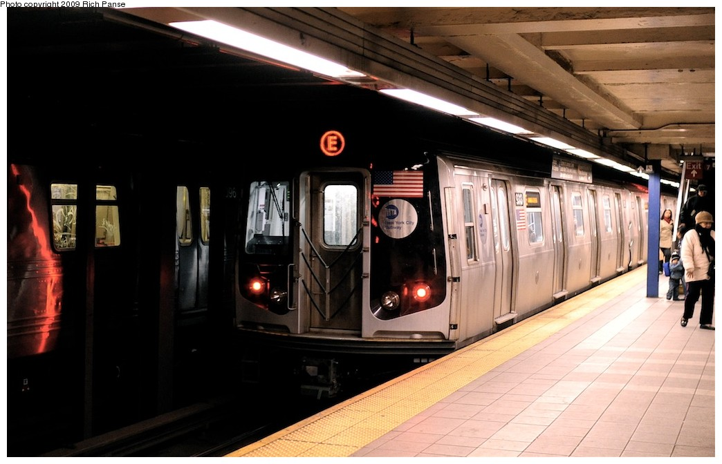 (154k, 1044x672)<br><b>Country:</b> United States<br><b>City:</b> New York<br><b>System:</b> New York City Transit<br><b>Line:</b> IND Queens Boulevard Line<br><b>Location:</b> Roosevelt Avenue <br><b>Route:</b> E<br><b>Car:</b> R-160A (Option 1) (Alstom, 2008-2009, 5 car sets)   <br><b>Photo by:</b> Richard Panse<br><b>Date:</b> 3/25/2009<br><b>Viewed (this week/total):</b> 2 / 895