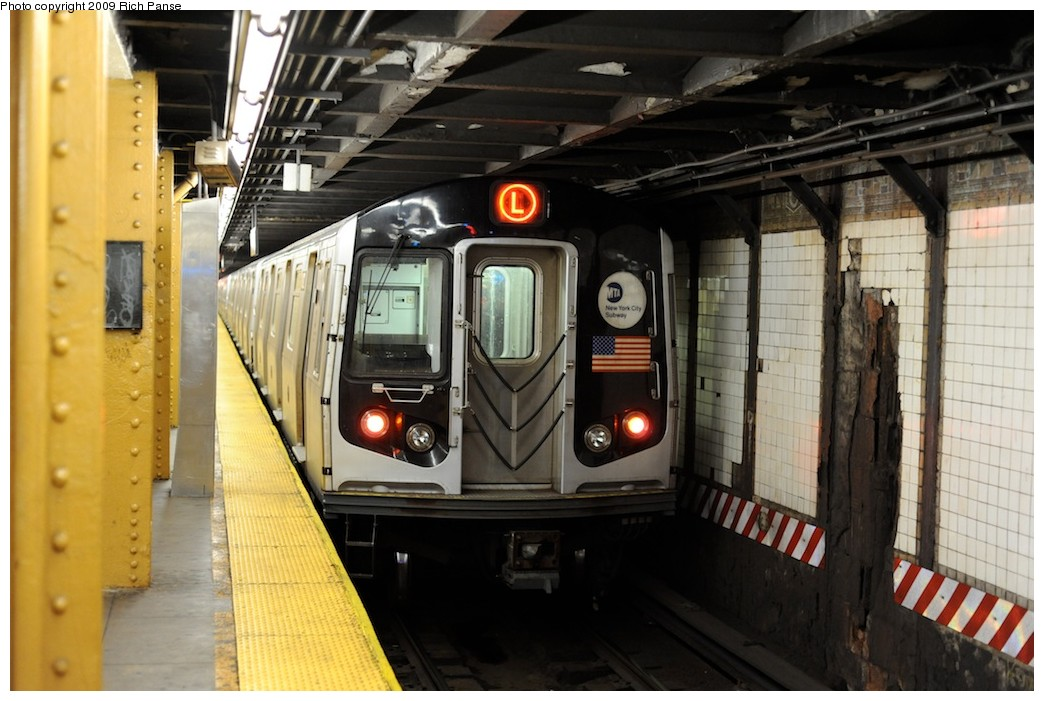 (179k, 1044x701)<br><b>Country:</b> United States<br><b>City:</b> New York<br><b>System:</b> New York City Transit<br><b>Line:</b> BMT Canarsie Line<br><b>Location:</b> 6th Avenue <br><b>Route:</b> L<br><b>Car:</b> R-143 (Kawasaki, 2001-2002)  <br><b>Photo by:</b> Richard Panse<br><b>Date:</b> 3/31/2009<br><b>Viewed (this week/total):</b> 0 / 685
