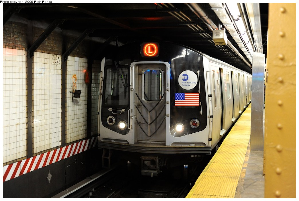 (172k, 1044x701)<br><b>Country:</b> United States<br><b>City:</b> New York<br><b>System:</b> New York City Transit<br><b>Line:</b> BMT Canarsie Line<br><b>Location:</b> 6th Avenue <br><b>Route:</b> L<br><b>Car:</b> R-143 (Kawasaki, 2001-2002)  <br><b>Photo by:</b> Richard Panse<br><b>Date:</b> 3/31/2009<br><b>Viewed (this week/total):</b> 0 / 503