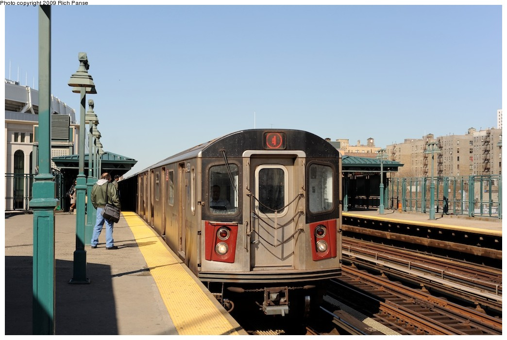 (169k, 1044x701)<br><b>Country:</b> United States<br><b>City:</b> New York<br><b>System:</b> New York City Transit<br><b>Line:</b> IRT Woodlawn Line<br><b>Location:</b> 161st Street/River Avenue (Yankee Stadium) <br><b>Route:</b> 4<br><b>Car:</b> R-142 or R-142A (Number Unknown)  <br><b>Photo by:</b> Richard Panse<br><b>Date:</b> 3/31/2009<br><b>Viewed (this week/total):</b> 0 / 698