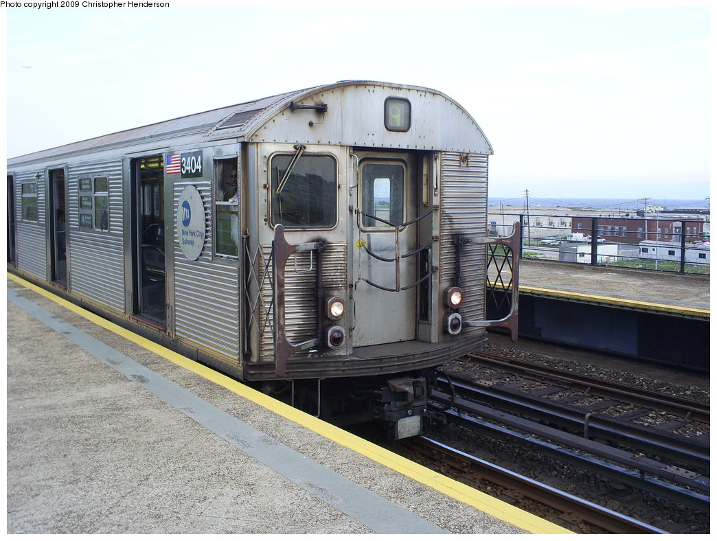 (289k, 1044x788)<br><b>Country:</b> United States<br><b>City:</b> New York<br><b>System:</b> New York City Transit<br><b>Line:</b> IND Rockaway<br><b>Location:</b> Beach 67th Street/Gaston Avenue <br><b>Route:</b> A<br><b>Car:</b> R-32 (Budd, 1964)  3404 <br><b>Photo by:</b> Christopher Henderson<br><b>Date:</b> 5/23/2009<br><b>Viewed (this week/total):</b> 3 / 752