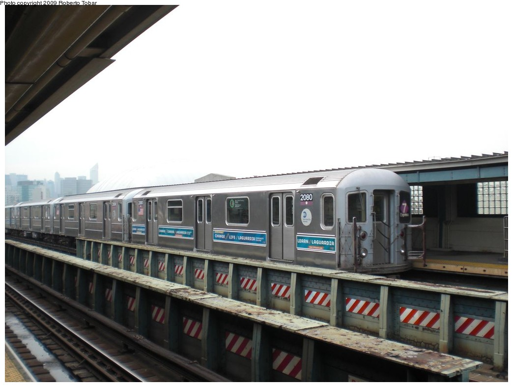 (178k, 1044x788)<br><b>Country:</b> United States<br><b>City:</b> New York<br><b>System:</b> New York City Transit<br><b>Line:</b> IRT Flushing Line<br><b>Location:</b> 33rd Street/Rawson Street <br><b>Route:</b> 7<br><b>Car:</b> R-62A (Bombardier, 1984-1987)  2080 <br><b>Photo by:</b> Roberto C. Tobar<br><b>Date:</b> 5/29/2009<br><b>Viewed (this week/total):</b> 2 / 532