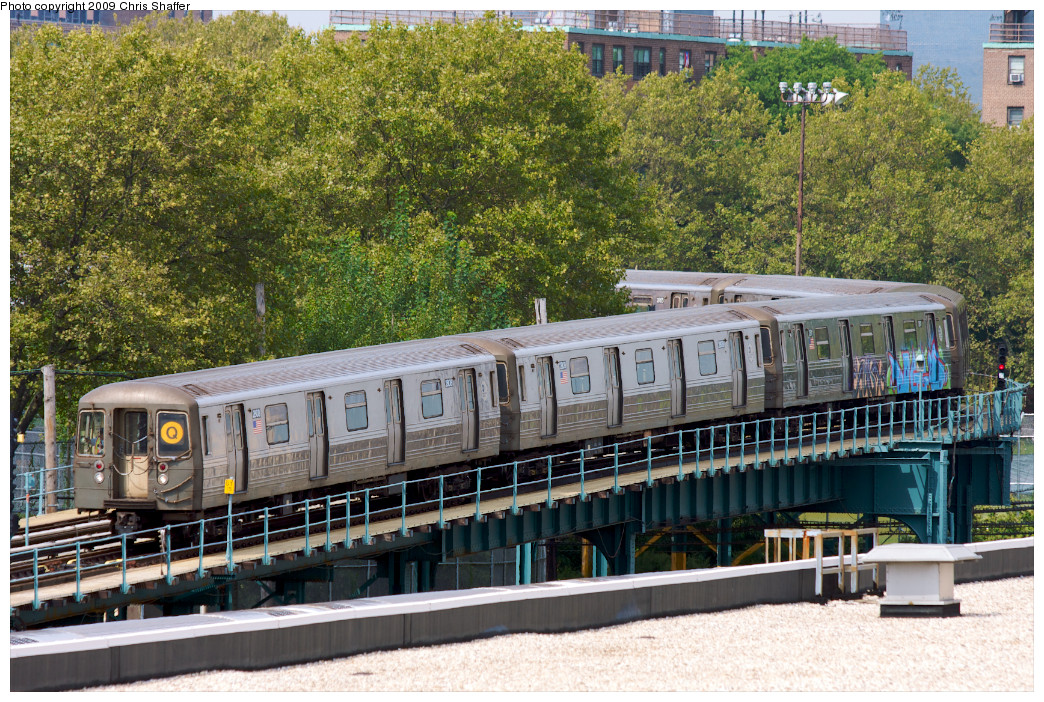 (392k, 1044x702)<br><b>Country:</b> United States<br><b>City:</b> New York<br><b>System:</b> New York City Transit<br><b>Location:</b> Coney Island Yard<br><b>Route:</b> Q<br><b>Car:</b> R-68 (Westinghouse-Amrail, 1986-1988)  2808 <br><b>Photo by:</b> Chris C. Shaffer<br><b>Date:</b> 9/13/2008<br><b>Notes:</b> Entering yard.<br><b>Viewed (this week/total):</b> 2 / 688