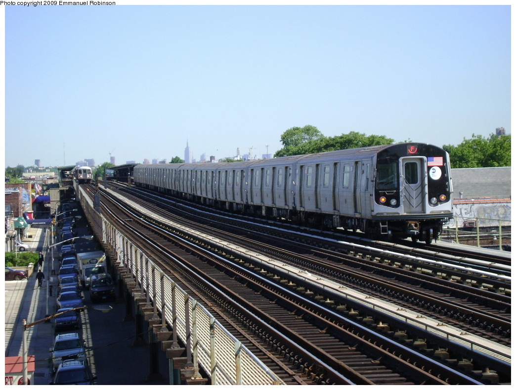 (249k, 1044x788)<br><b>Country:</b> United States<br><b>City:</b> New York<br><b>System:</b> New York City Transit<br><b>Line:</b> BMT Culver Line<br><b>Location:</b> Bay Parkway (22nd Avenue) <br><b>Route:</b> F<br><b>Car:</b> R-160A (Option 1) (Alstom, 2008-2009, 5 car sets)   <br><b>Photo by:</b> Emmanuel Robinson<br><b>Date:</b> 6/1/2009<br><b>Viewed (this week/total):</b> 1 / 714