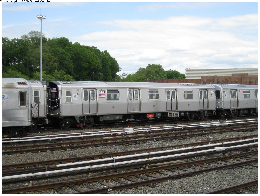 (236k, 1044x788)<br><b>Country:</b> United States<br><b>City:</b> New York<br><b>System:</b> New York City Transit<br><b>Location:</b> East New York Yard/Shops<br><b>Car:</b> R-160A-1 (Alstom, 2005-2008, 4 car sets)  8480 <br><b>Photo by:</b> Robert Mencher<br><b>Date:</b> 5/18/2009<br><b>Viewed (this week/total):</b> 0 / 483