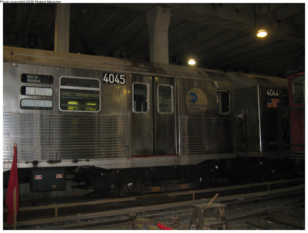 (197k, 1044x788)<br><b>Country:</b> United States<br><b>City:</b> New York<br><b>System:</b> New York City Transit<br><b>Location:</b> Pitkin Yard/Shops<br><b>Car:</b> R-38 (St. Louis, 1966-1967)  4045/4044 <br><b>Photo by:</b> Robert Mencher<br><b>Date:</b> 5/23/2009<br><b>Viewed (this week/total):</b> 4 / 1261