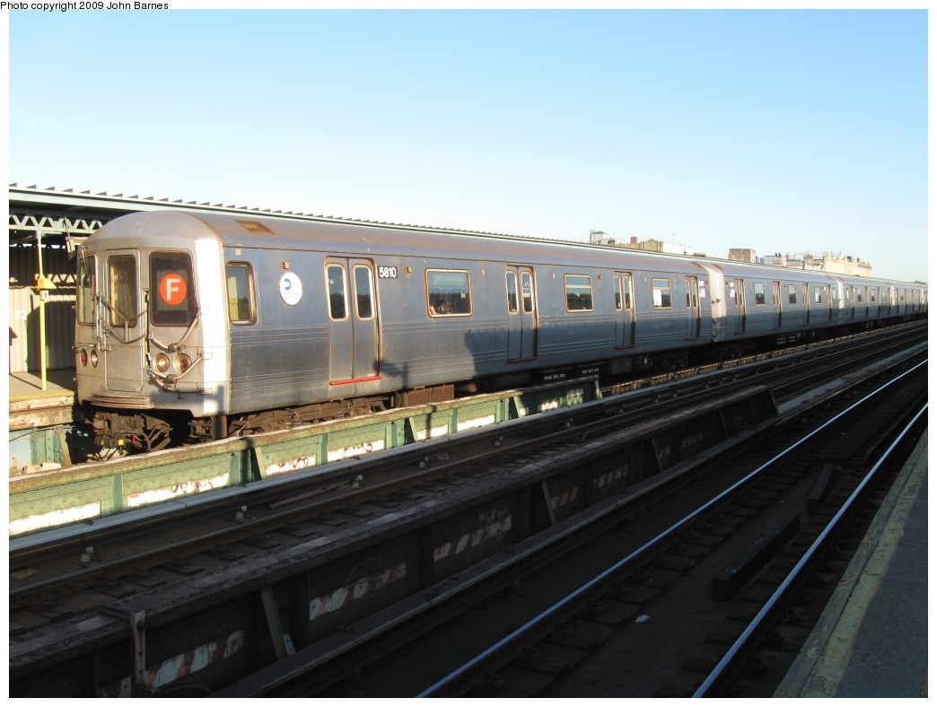 (166k, 1044x788)<br><b>Country:</b> United States<br><b>City:</b> New York<br><b>System:</b> New York City Transit<br><b>Line:</b> BMT Culver Line<br><b>Location:</b> Ditmas Avenue <br><b>Route:</b> F<br><b>Car:</b> R-46 (Pullman-Standard, 1974-75) 5810 <br><b>Photo by:</b> John Barnes<br><b>Date:</b> 5/21/2009<br><b>Viewed (this week/total):</b> 0 / 409