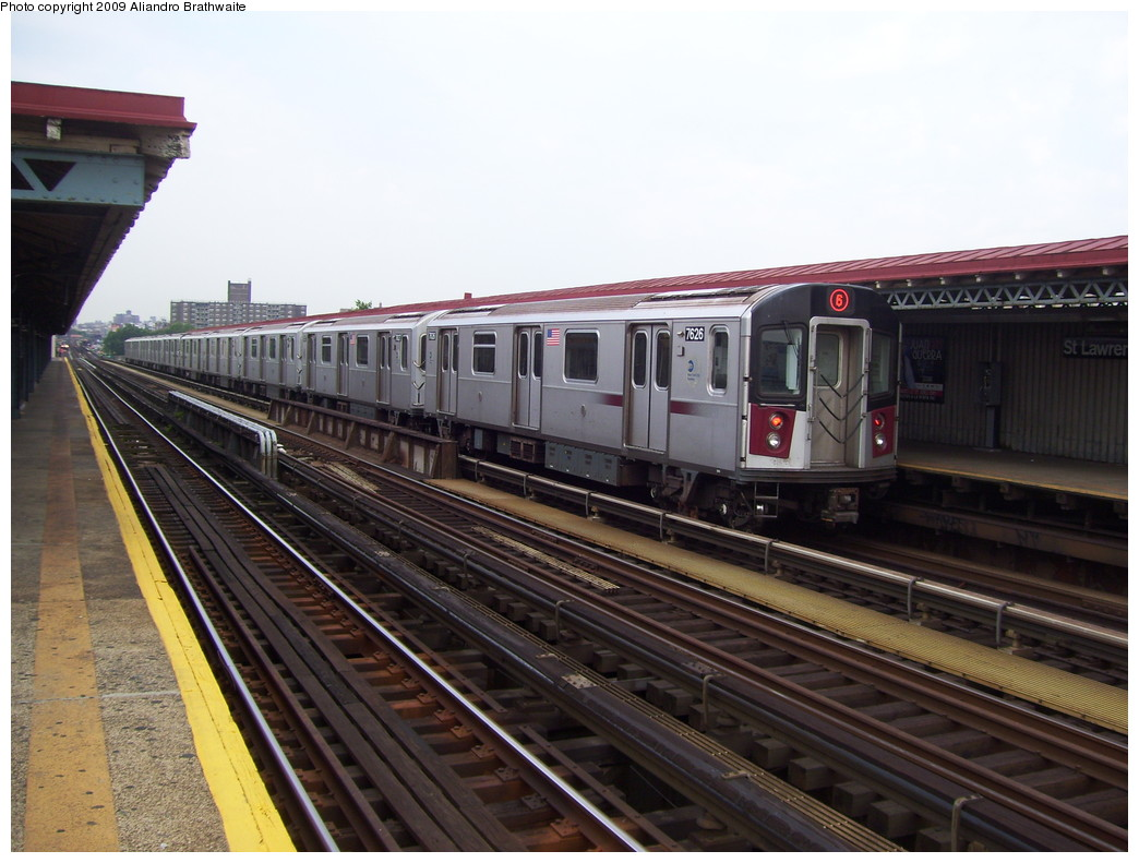 (215k, 1044x791)<br><b>Country:</b> United States<br><b>City:</b> New York<br><b>System:</b> New York City Transit<br><b>Line:</b> IRT Pelham Line<br><b>Location:</b> St. Lawrence Avenue <br><b>Route:</b> 6<br><b>Car:</b> R-142A (Option Order, Kawasaki, 2002-2003)  7626 <br><b>Photo by:</b> Aliandro Brathwaite<br><b>Date:</b> 6/8/2009<br><b>Viewed (this week/total):</b> 2 / 709