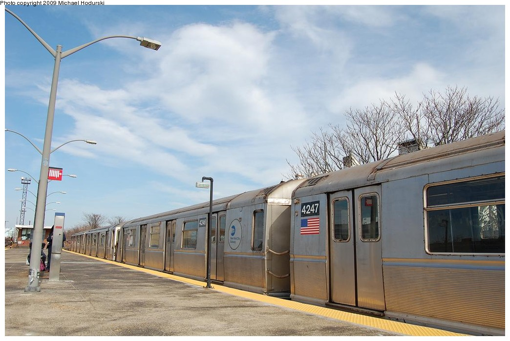 (216k, 1044x699)<br><b>Country:</b> United States<br><b>City:</b> New York<br><b>System:</b> New York City Transit<br><b>Line:</b> IND Rockaway<br><b>Location:</b> Rockaway Park/Beach 116th Street <br><b>Route:</b> A<br><b>Car:</b> R-40 (St. Louis, 1968)  4246 <br><b>Photo by:</b> Michael Hodurski<br><b>Date:</b> 4/17/2008<br><b>Viewed (this week/total):</b> 4 / 605