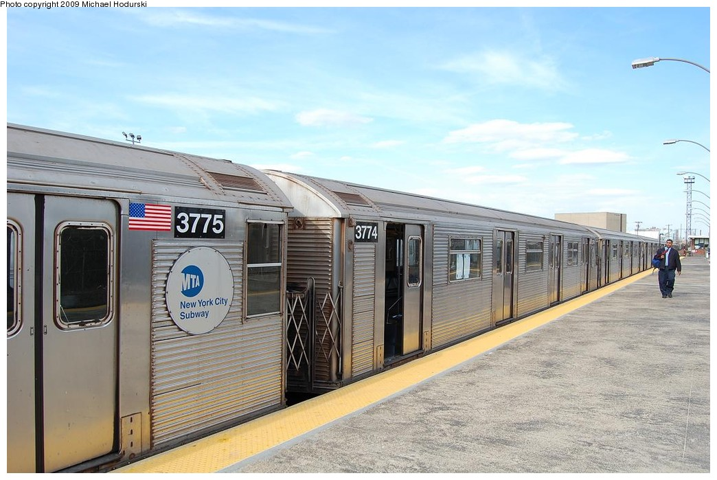 (224k, 1044x699)<br><b>Country:</b> United States<br><b>City:</b> New York<br><b>System:</b> New York City Transit<br><b>Line:</b> IND Rockaway<br><b>Location:</b> Rockaway Park/Beach 116th Street <br><b>Route:</b> A<br><b>Car:</b> R-32 (Budd, 1964)  3774 <br><b>Photo by:</b> Michael Hodurski<br><b>Date:</b> 4/17/2008<br><b>Viewed (this week/total):</b> 1 / 782