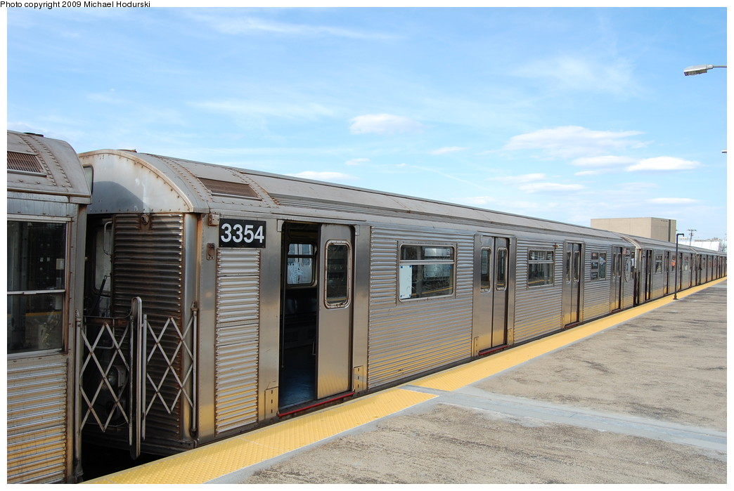 (247k, 1044x699)<br><b>Country:</b> United States<br><b>City:</b> New York<br><b>System:</b> New York City Transit<br><b>Line:</b> IND Rockaway<br><b>Location:</b> Rockaway Park/Beach 116th Street <br><b>Route:</b> A<br><b>Car:</b> R-32 (Budd, 1964)  3354 <br><b>Photo by:</b> Michael Hodurski<br><b>Date:</b> 4/17/2008<br><b>Viewed (this week/total):</b> 1 / 510