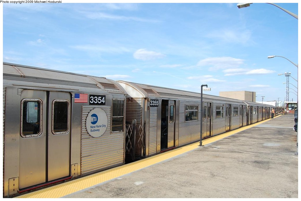 (213k, 1044x699)<br><b>Country:</b> United States<br><b>City:</b> New York<br><b>System:</b> New York City Transit<br><b>Line:</b> IND Rockaway<br><b>Location:</b> Rockaway Park/Beach 116th Street <br><b>Route:</b> A<br><b>Car:</b> R-32 (Budd, 1964)  3355 <br><b>Photo by:</b> Michael Hodurski<br><b>Date:</b> 4/17/2008<br><b>Viewed (this week/total):</b> 1 / 450