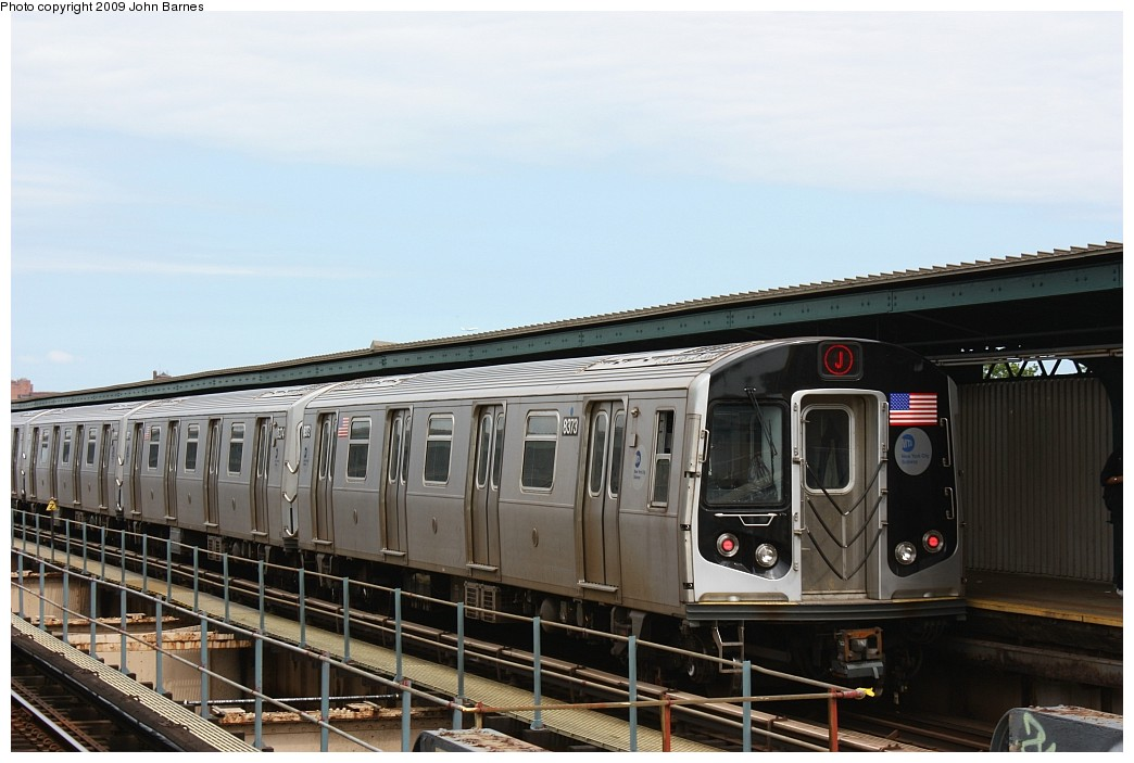 (169k, 1044x703)<br><b>Country:</b> United States<br><b>City:</b> New York<br><b>System:</b> New York City Transit<br><b>Line:</b> BMT Nassau Street/Jamaica Line<br><b>Location:</b> 121st Street <br><b>Route:</b> J<br><b>Car:</b> R-160A-1 (Alstom, 2005-2008, 4 car sets)  8373 <br><b>Photo by:</b> John Barnes<br><b>Date:</b> 6/15/2009<br><b>Viewed (this week/total):</b> 0 / 538