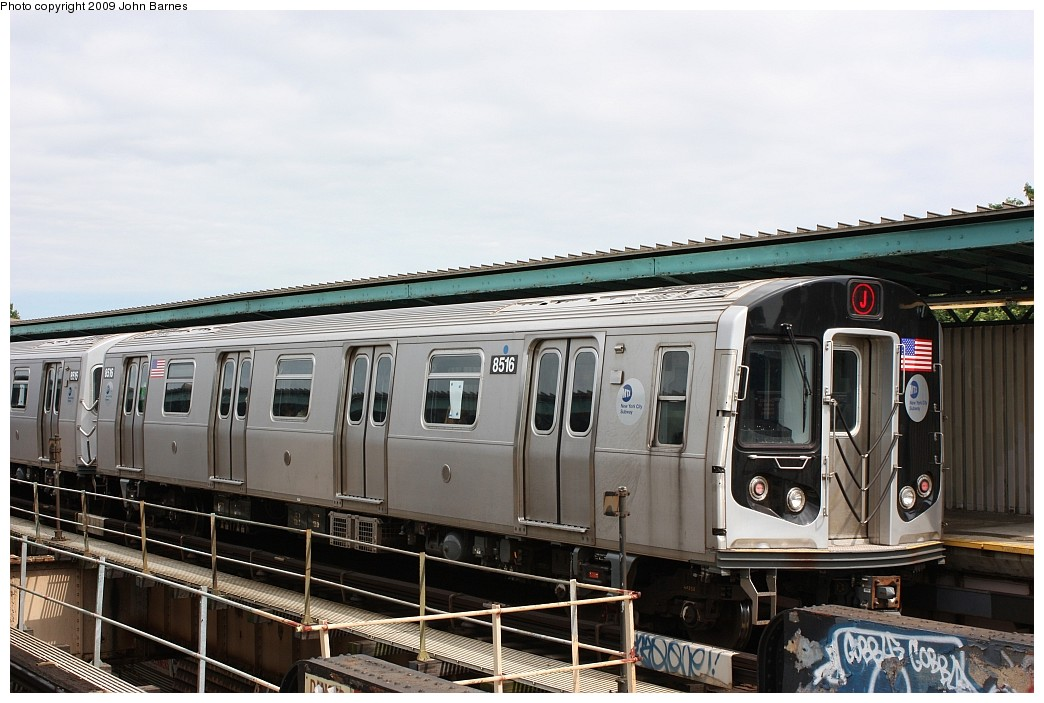 (189k, 1044x703)<br><b>Country:</b> United States<br><b>City:</b> New York<br><b>System:</b> New York City Transit<br><b>Line:</b> BMT Nassau Street/Jamaica Line<br><b>Location:</b> 102nd-104th Streets <br><b>Route:</b> J<br><b>Car:</b> R-160A-1 (Alstom, 2005-2008, 4 car sets)  8516 <br><b>Photo by:</b> John Barnes<br><b>Date:</b> 6/15/2009<br><b>Viewed (this week/total):</b> 1 / 635