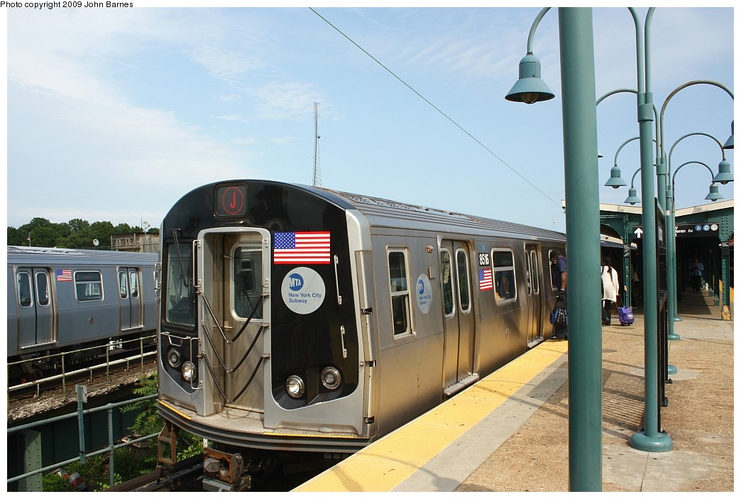 (197k, 1044x703)<br><b>Country:</b> United States<br><b>City:</b> New York<br><b>System:</b> New York City Transit<br><b>Line:</b> BMT Nassau Street/Jamaica Line<br><b>Location:</b> Broadway/East New York (Broadway Junction) <br><b>Route:</b> J<br><b>Car:</b> R-160A-1 (Alstom, 2005-2008, 4 car sets)  8516 <br><b>Photo by:</b> John Barnes<br><b>Date:</b> 6/15/2009<br><b>Viewed (this week/total):</b> 1 / 547