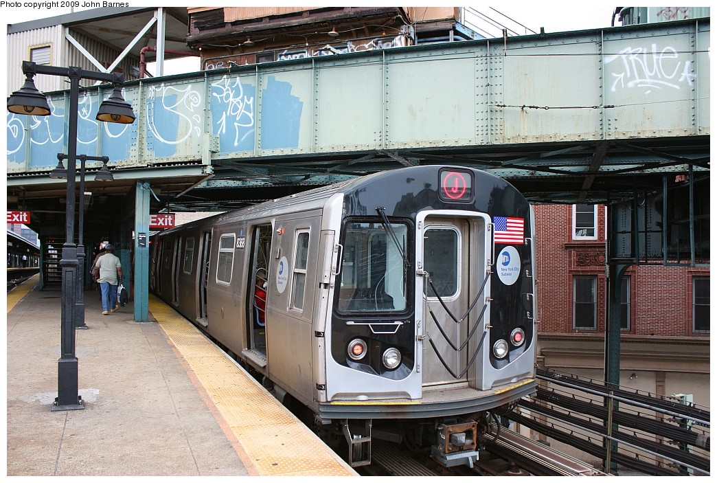 (270k, 1044x703)<br><b>Country:</b> United States<br><b>City:</b> New York<br><b>System:</b> New York City Transit<br><b>Line:</b> BMT Nassau Street/Jamaica Line<br><b>Location:</b> Myrtle Avenue <br><b>Route:</b> J<br><b>Car:</b> R-160A-1 (Alstom, 2005-2008, 4 car sets)  8368 <br><b>Photo by:</b> John Barnes<br><b>Date:</b> 6/15/2009<br><b>Viewed (this week/total):</b> 0 / 942