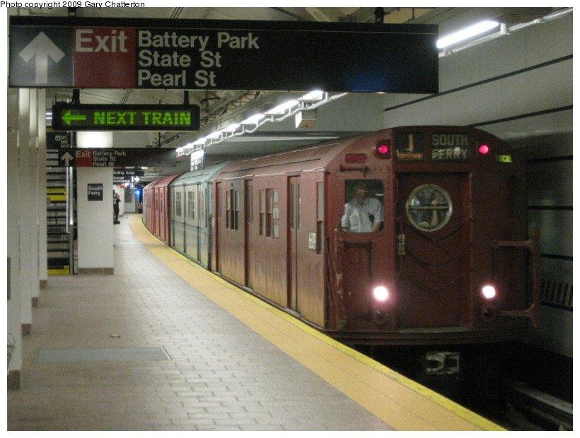 (127k, 820x620)<br><b>Country:</b> United States<br><b>City:</b> New York<br><b>System:</b> New York City Transit<br><b>Line:</b> IRT West Side Line<br><b>Location:</b> South Ferry (New Station) <br><b>Route:</b> Fan Trip<br><b>Car:</b> R-17 (St. Louis, 1955-56) 6609 <br><b>Photo by:</b> Gary Chatterton<br><b>Date:</b> 6/20/2009<br><b>Viewed (this week/total):</b> 3 / 2350