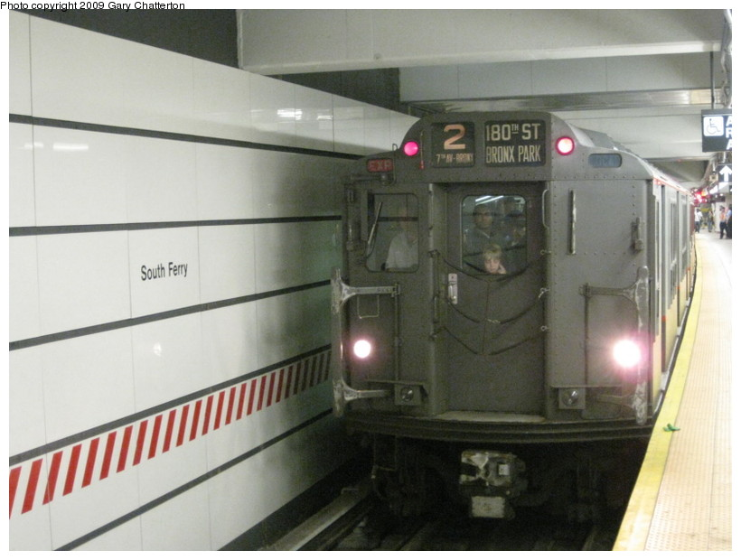 (112k, 820x620)<br><b>Country:</b> United States<br><b>City:</b> New York<br><b>System:</b> New York City Transit<br><b>Line:</b> IRT West Side Line<br><b>Location:</b> South Ferry (New Station) <br><b>Route:</b> Fan Trip<br><b>Car:</b> R-12 (American Car & Foundry, 1948) 5760 <br><b>Photo by:</b> Gary Chatterton<br><b>Date:</b> 6/20/2009<br><b>Viewed (this week/total):</b> 1 / 1688