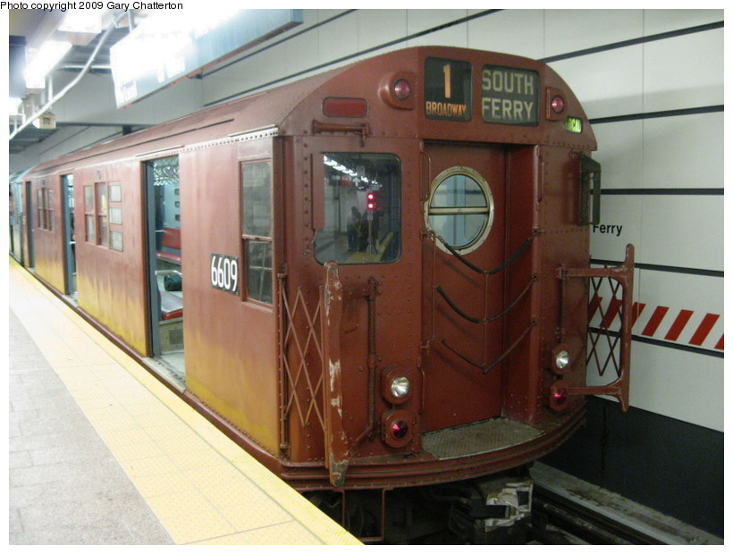 (129k, 820x620)<br><b>Country:</b> United States<br><b>City:</b> New York<br><b>System:</b> New York City Transit<br><b>Line:</b> IRT West Side Line<br><b>Location:</b> South Ferry (New Station) <br><b>Route:</b> Fan Trip<br><b>Car:</b> R-17 (St. Louis, 1955-56) 6609 <br><b>Photo by:</b> Gary Chatterton<br><b>Date:</b> 6/20/2009<br><b>Viewed (this week/total):</b> 4 / 1262