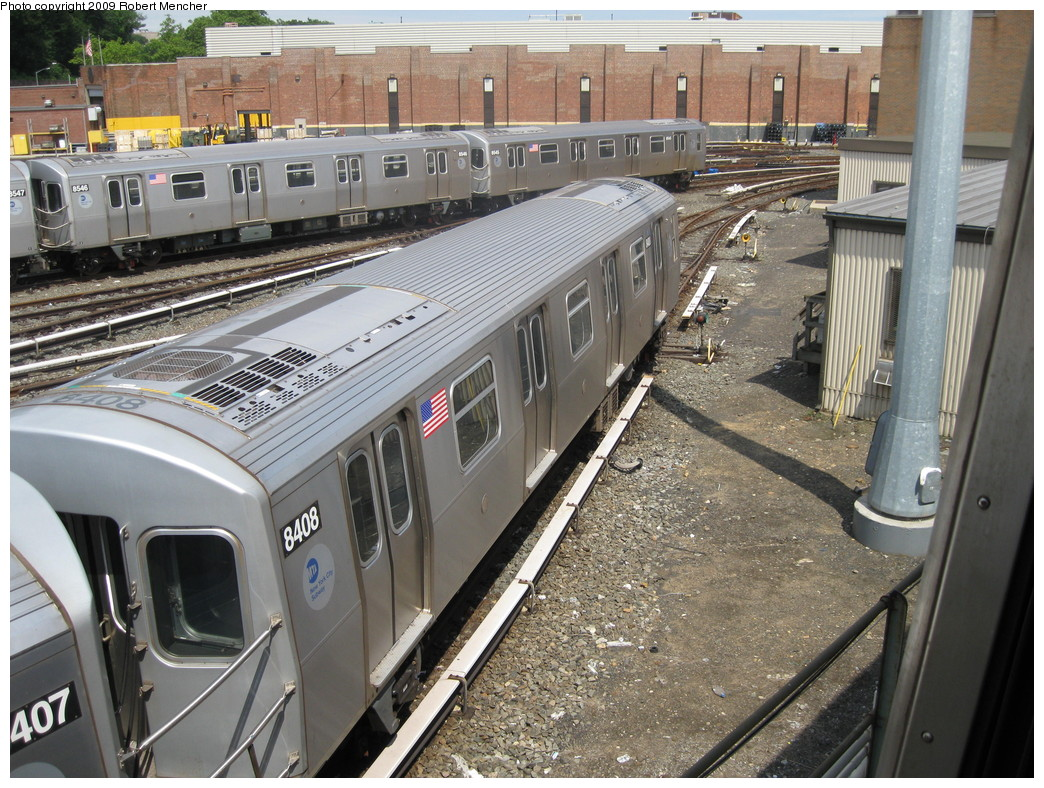 (291k, 1044x788)<br><b>Country:</b> United States<br><b>City:</b> New York<br><b>System:</b> New York City Transit<br><b>Location:</b> East New York Yard/Shops<br><b>Car:</b> R-160A-1 (Alstom, 2005-2008, 4 car sets)  8408 <br><b>Photo by:</b> Robert Mencher<br><b>Date:</b> 6/15/2009<br><b>Viewed (this week/total):</b> 1 / 574