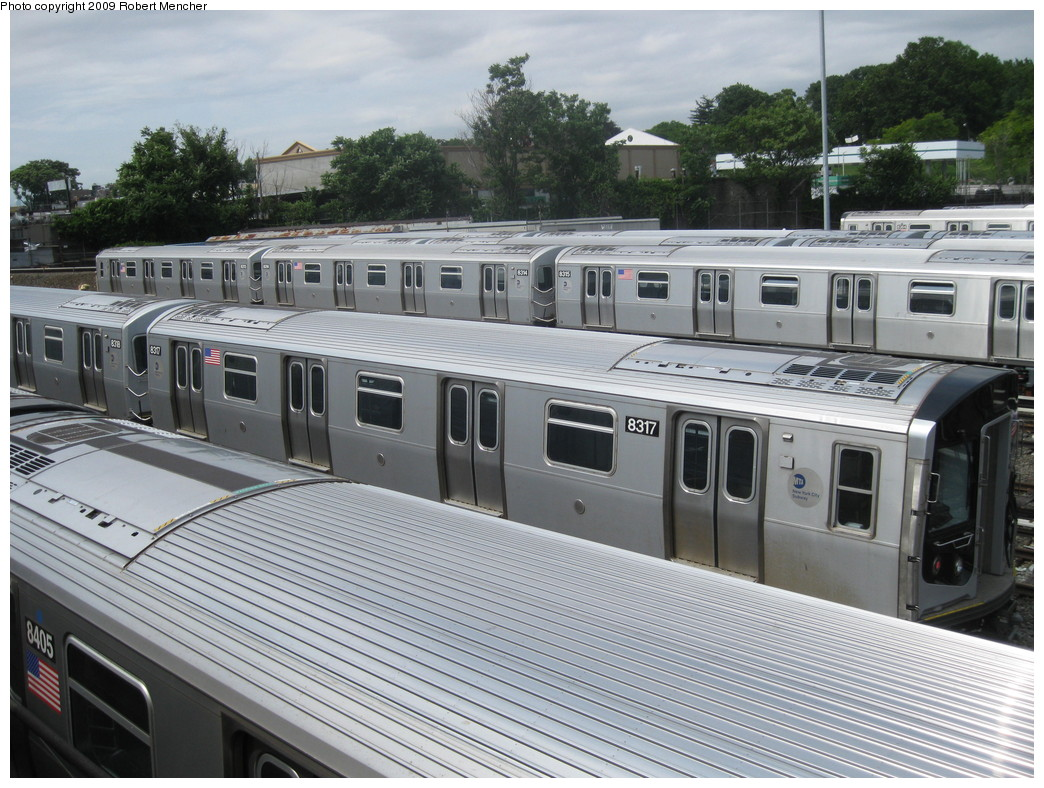 (256k, 1044x788)<br><b>Country:</b> United States<br><b>City:</b> New York<br><b>System:</b> New York City Transit<br><b>Location:</b> East New York Yard/Shops<br><b>Car:</b> R-160A-1 (Alstom, 2005-2008, 4 car sets)  8317 <br><b>Photo by:</b> Robert Mencher<br><b>Date:</b> 6/15/2009<br><b>Viewed (this week/total):</b> 4 / 638