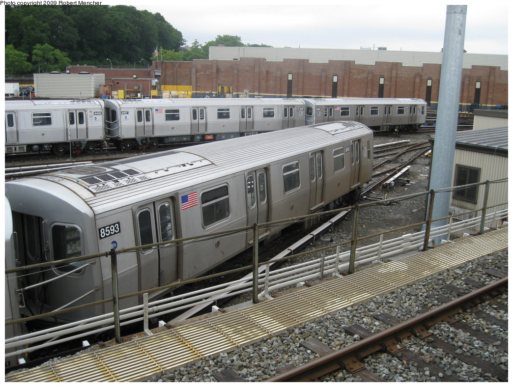 (285k, 1044x788)<br><b>Country:</b> United States<br><b>City:</b> New York<br><b>System:</b> New York City Transit<br><b>Location:</b> East New York Yard/Shops<br><b>Car:</b> R-160A-1 (Alstom, 2005-2008, 4 car sets)  8593 <br><b>Photo by:</b> Robert Mencher<br><b>Date:</b> 6/16/2009<br><b>Viewed (this week/total):</b> 1 / 789