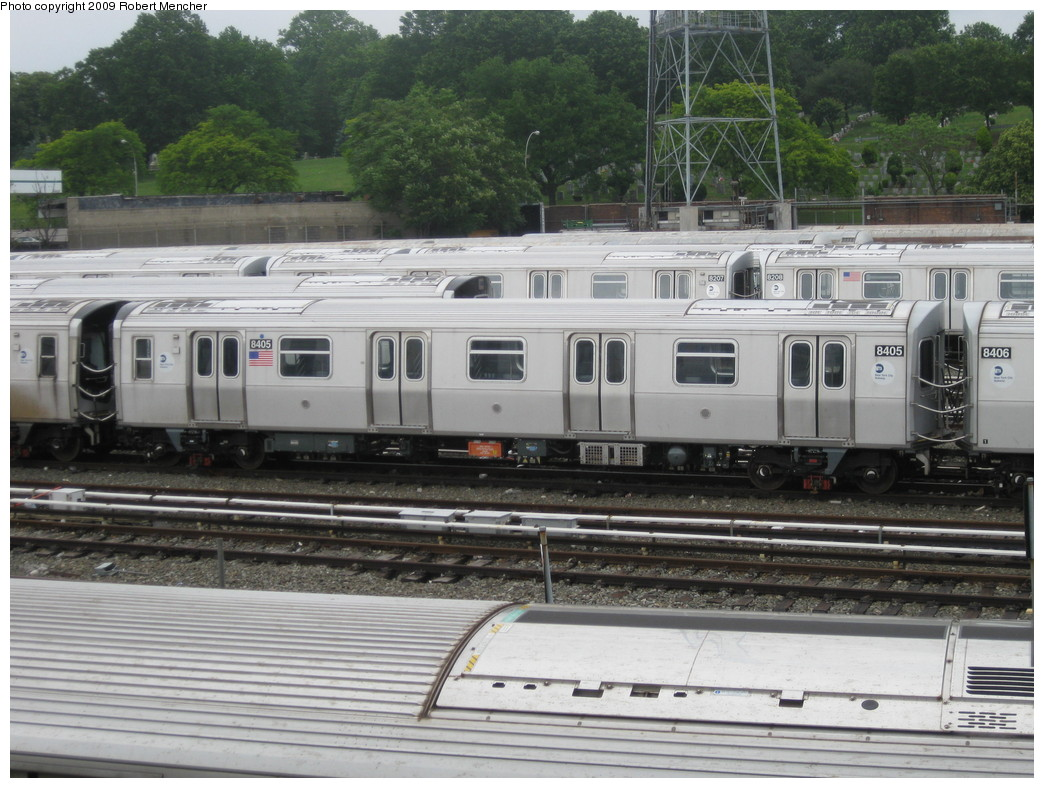 (236k, 1044x788)<br><b>Country:</b> United States<br><b>City:</b> New York<br><b>System:</b> New York City Transit<br><b>Location:</b> East New York Yard/Shops<br><b>Car:</b> R-160A-1 (Alstom, 2005-2008, 4 car sets)  8405 <br><b>Photo by:</b> Robert Mencher<br><b>Date:</b> 6/16/2009<br><b>Viewed (this week/total):</b> 0 / 388