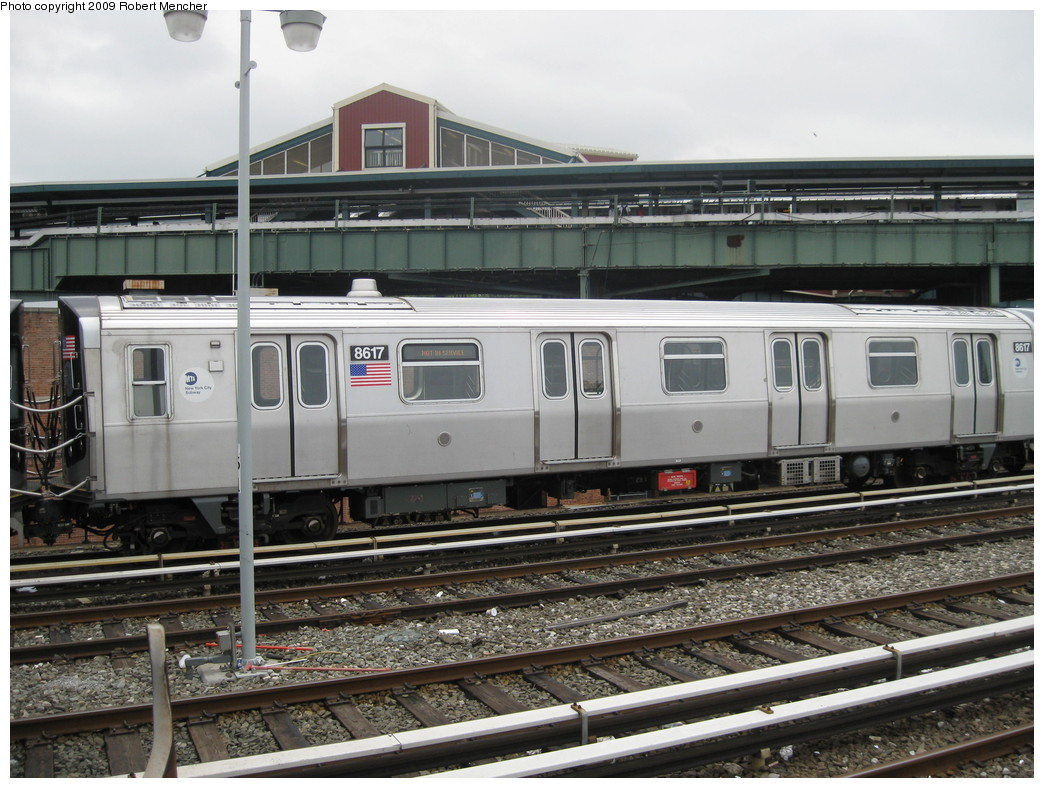 (235k, 1044x788)<br><b>Country:</b> United States<br><b>City:</b> New York<br><b>System:</b> New York City Transit<br><b>Location:</b> East New York Yard/Shops<br><b>Car:</b> R-160A-1 (Alstom, 2005-2008, 4 car sets)  8617 <br><b>Photo by:</b> Robert Mencher<br><b>Date:</b> 6/16/2009<br><b>Viewed (this week/total):</b> 0 / 413
