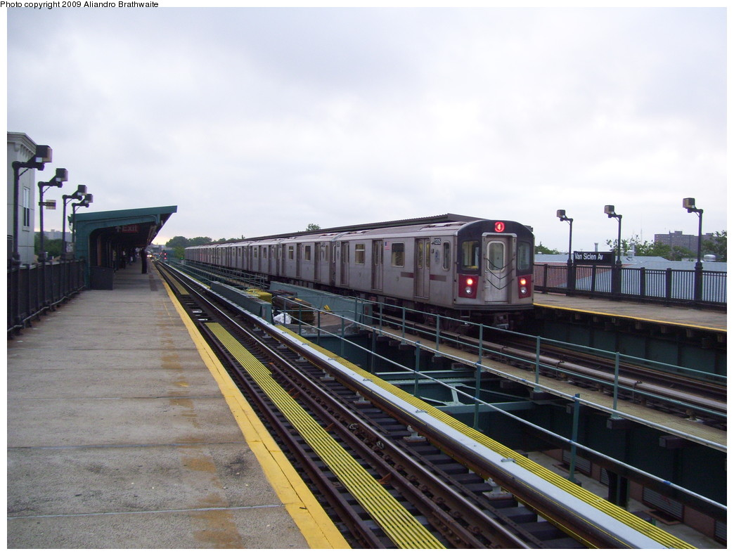 (214k, 1044x791)<br><b>Country:</b> United States<br><b>City:</b> New York<br><b>System:</b> New York City Transit<br><b>Line:</b> IRT Brooklyn Line<br><b>Location:</b> Van Siclen Avenue <br><b>Route:</b> 4<br><b>Car:</b> R-142 (Option Order, Bombardier, 2002-2003)  1205 <br><b>Photo by:</b> Aliandro Brathwaite<br><b>Date:</b> 6/16/2009<br><b>Viewed (this week/total):</b> 1 / 926
