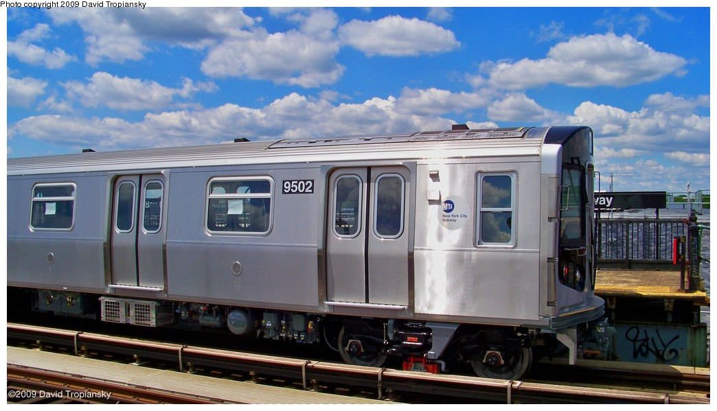 (178k, 1044x599)<br><b>Country:</b> United States<br><b>City:</b> New York<br><b>System:</b> New York City Transit<br><b>Line:</b> BMT Culver Line<br><b>Location:</b> Bay Parkway (22nd Avenue) <br><b>Route:</b> Testing<br><b>Car:</b> R-160A (Option 1) (Alstom, 2008-2009, 5 car sets)  9502 <br><b>Photo by:</b> David Tropiansky<br><b>Date:</b> 7/8/2009<br><b>Viewed (this week/total):</b> 1 / 1973
