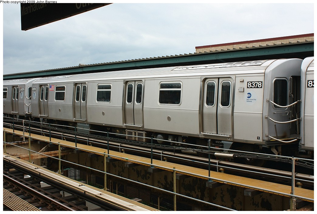 (209k, 1044x703)<br><b>Country:</b> United States<br><b>City:</b> New York<br><b>System:</b> New York City Transit<br><b>Line:</b> BMT Nassau Street/Jamaica Line<br><b>Location:</b> Cypress Hills <br><b>Route:</b> J<br><b>Car:</b> R-160A-1 (Alstom, 2005-2008, 4 car sets)  8378 <br><b>Photo by:</b> John Barnes<br><b>Date:</b> 6/22/2009<br><b>Viewed (this week/total):</b> 0 / 388