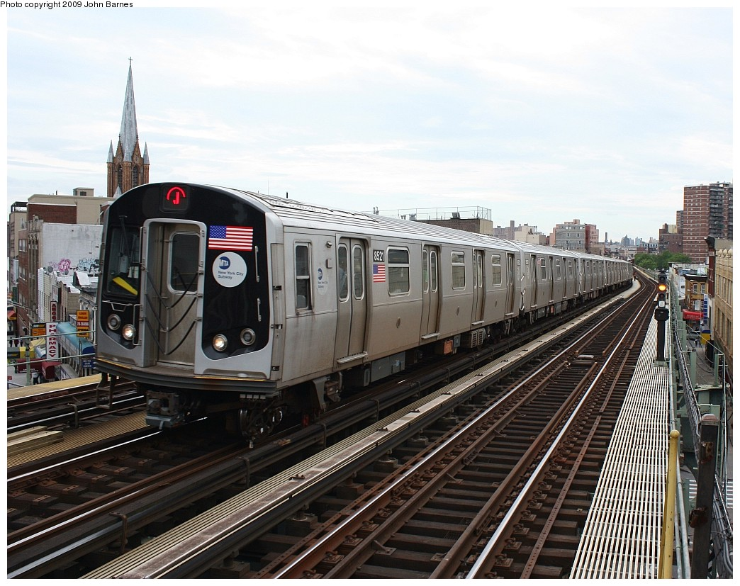 (251k, 1044x827)<br><b>Country:</b> United States<br><b>City:</b> New York<br><b>System:</b> New York City Transit<br><b>Line:</b> BMT Nassau Street/Jamaica Line<br><b>Location:</b> Flushing Avenue <br><b>Route:</b> J<br><b>Car:</b> R-160A-1 (Alstom, 2005-2008, 4 car sets)  8521 <br><b>Photo by:</b> John Barnes<br><b>Date:</b> 6/22/2009<br><b>Viewed (this week/total):</b> 3 / 558