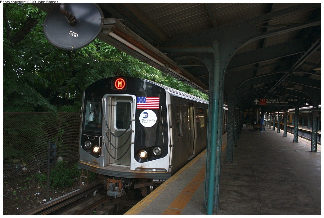 (212k, 1044x703)<br><b>Country:</b> United States<br><b>City:</b> New York<br><b>System:</b> New York City Transit<br><b>Line:</b> BMT West End Line<br><b>Location:</b> 9th Avenue <br><b>Route:</b> M<br><b>Car:</b> R-160A-1 (Alstom, 2005-2008, 4 car sets)  8489 <br><b>Photo by:</b> John Barnes<br><b>Date:</b> 6/22/2009<br><b>Viewed (this week/total):</b> 3 / 787