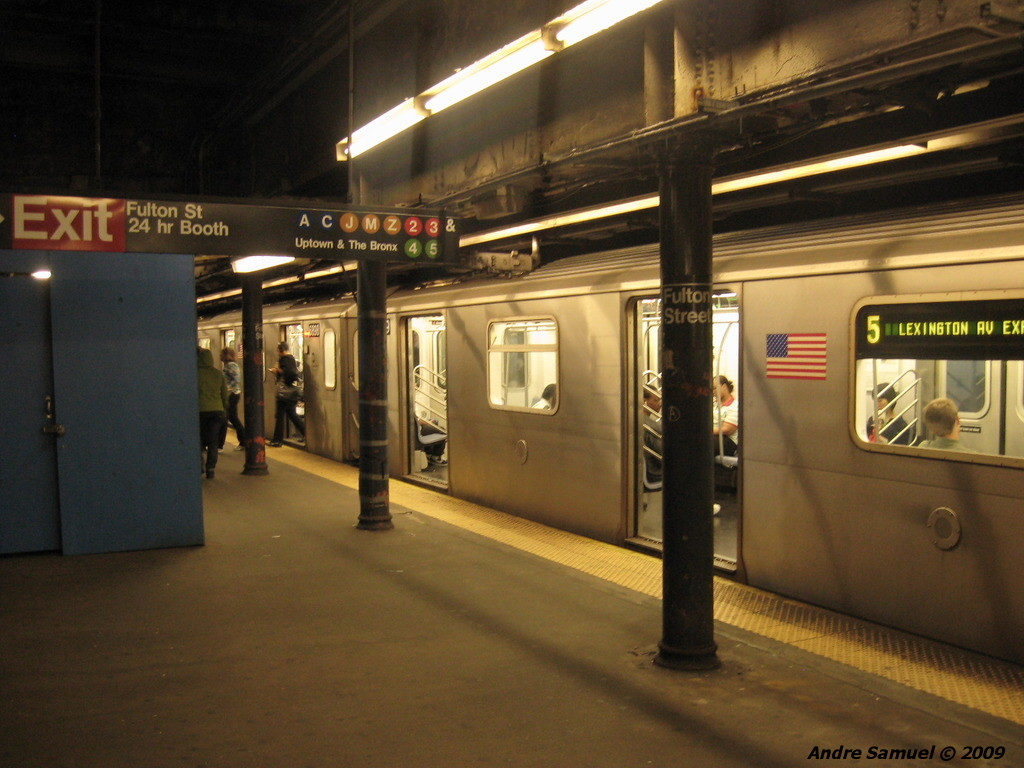 (200k, 1024x768)<br><b>Country:</b> United States<br><b>City:</b> New York<br><b>System:</b> New York City Transit<br><b>Line:</b> IRT East Side Line<br><b>Location:</b> Fulton Street <br><b>Photo by:</b> Andre Samuel<br><b>Date:</b> 5/25/2009<br><b>Viewed (this week/total):</b> 0 / 1831
