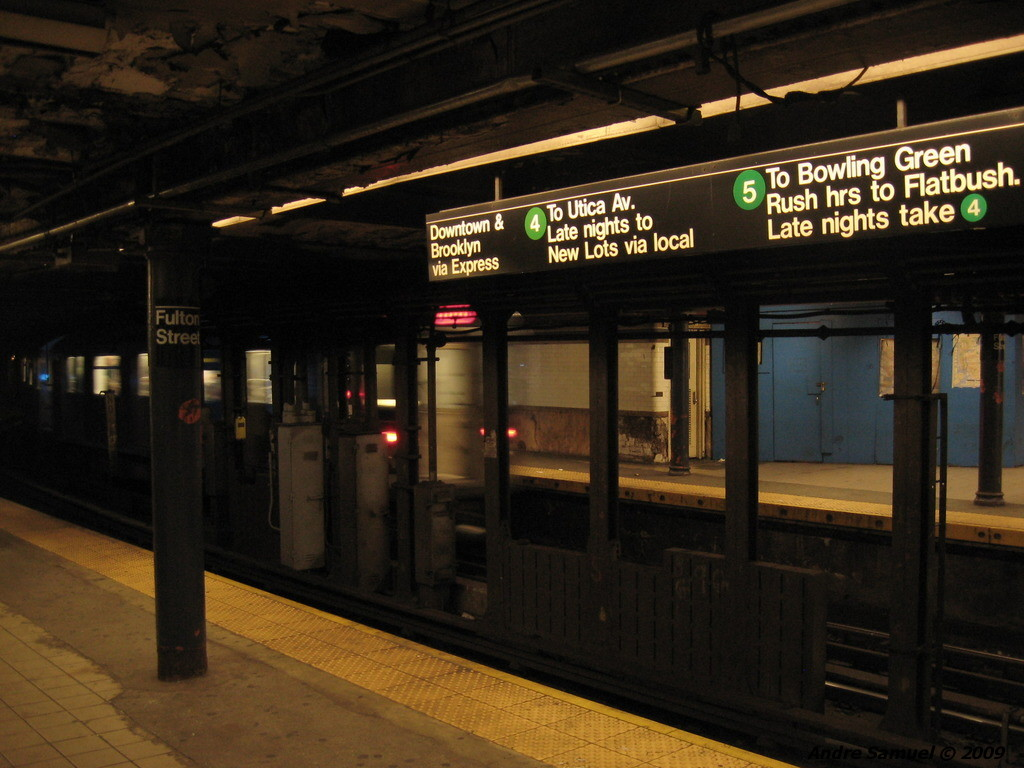 (203k, 1024x768)<br><b>Country:</b> United States<br><b>City:</b> New York<br><b>System:</b> New York City Transit<br><b>Line:</b> IRT East Side Line<br><b>Location:</b> Fulton Street <br><b>Photo by:</b> Andre Samuel<br><b>Date:</b> 5/25/2009<br><b>Viewed (this week/total):</b> 0 / 710