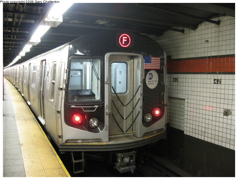 (134k, 820x620)<br><b>Country:</b> United States<br><b>City:</b> New York<br><b>System:</b> New York City Transit<br><b>Line:</b> IND 6th Avenue Line<br><b>Location:</b> 42nd Street/Bryant Park <br><b>Route:</b> F<br><b>Car:</b> R-160A (Option 1) (Alstom, 2008-2009, 5 car sets)  9368 <br><b>Photo by:</b> Gary Chatterton<br><b>Date:</b> 7/11/2009<br><b>Viewed (this week/total):</b> 2 / 753