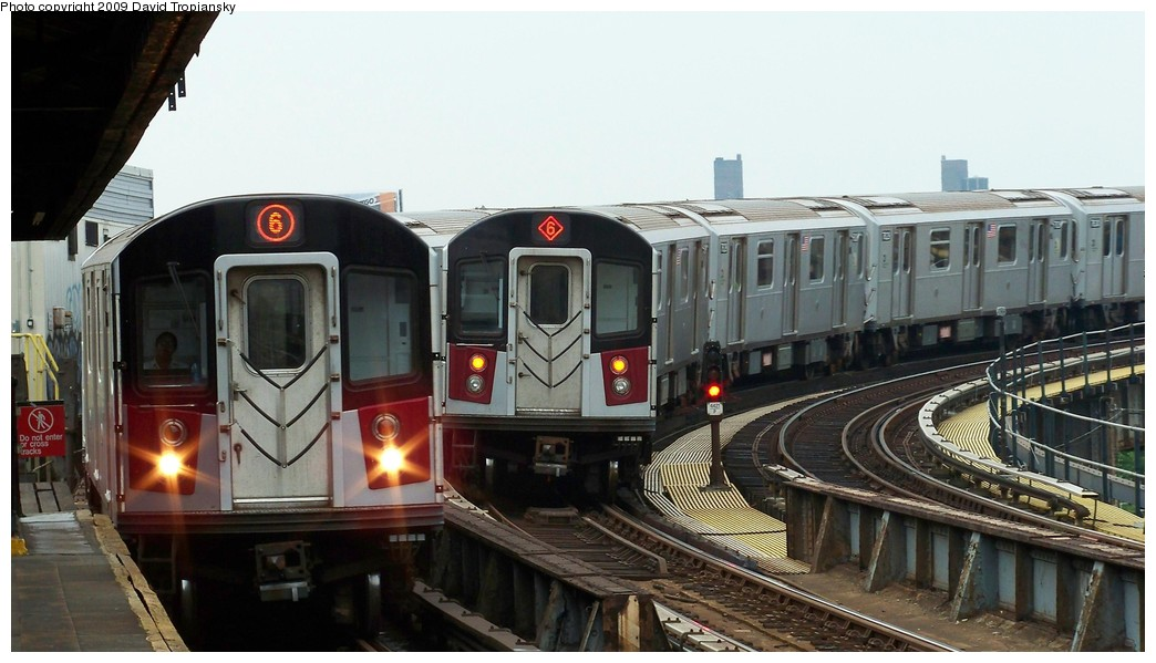 (175k, 1044x599)<br><b>Country:</b> United States<br><b>City:</b> New York<br><b>System:</b> New York City Transit<br><b>Line:</b> IRT Pelham Line<br><b>Location:</b> Whitlock Avenue <br><b>Route:</b> 6<br><b>Car:</b> R-142A (Primary Order, Kawasaki, 1999-2002)  7606 <br><b>Photo by:</b> David Tropiansky<br><b>Date:</b> 7/17/2009<br><b>Viewed (this week/total):</b> 1 / 1250
