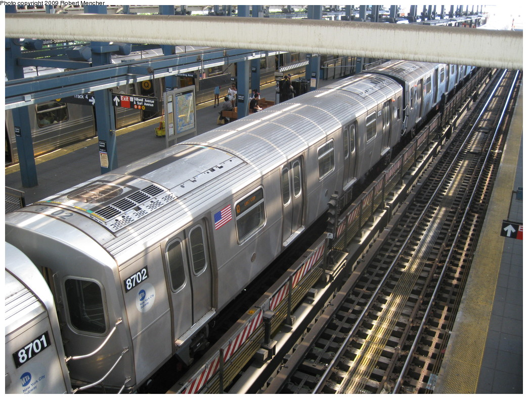 (293k, 1044x788)<br><b>Country:</b> United States<br><b>City:</b> New York<br><b>System:</b> New York City Transit<br><b>Location:</b> Coney Island/Stillwell Avenue<br><b>Route:</b> Q<br><b>Car:</b> R-160A-2 (Alstom, 2005-2008, 5 car sets)  8702 <br><b>Photo by:</b> Robert Mencher<br><b>Date:</b> 7/19/2009<br><b>Viewed (this week/total):</b> 2 / 737