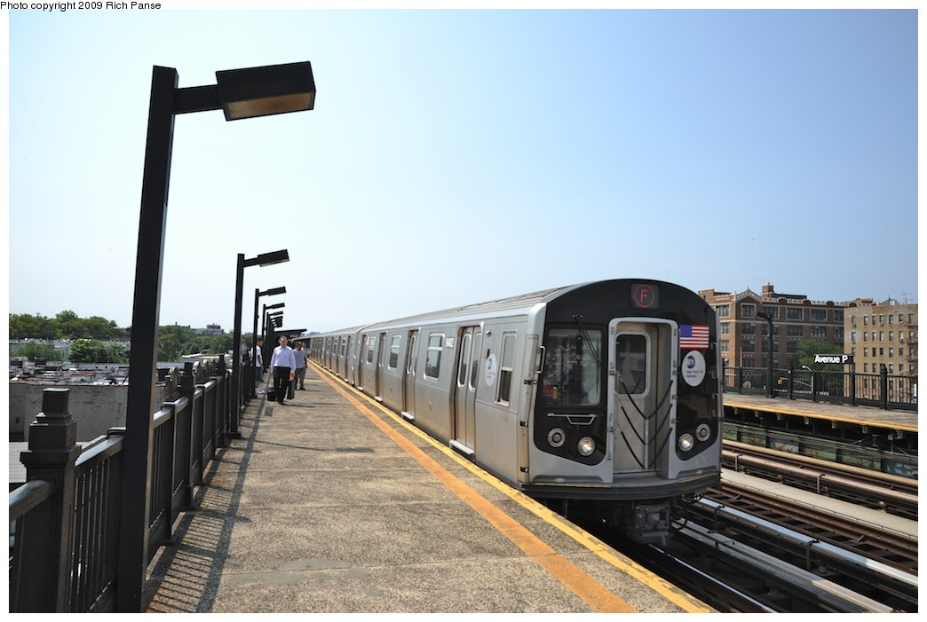 (158k, 1044x701)<br><b>Country:</b> United States<br><b>City:</b> New York<br><b>System:</b> New York City Transit<br><b>Line:</b> BMT Culver Line<br><b>Location:</b> Avenue P <br><b>Route:</b> F<br><b>Car:</b> R-160A (Option 1) (Alstom, 2008-2009, 5 car sets)   <br><b>Photo by:</b> Richard Panse<br><b>Date:</b> 7/22/2009<br><b>Viewed (this week/total):</b> 1 / 637