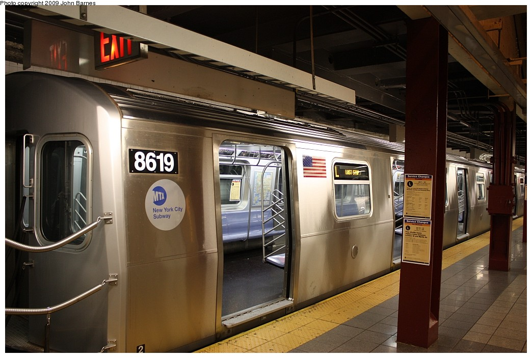 (199k, 1044x703)<br><b>Country:</b> United States<br><b>City:</b> New York<br><b>System:</b> New York City Transit<br><b>Line:</b> BMT Canarsie Line<br><b>Location:</b> 8th Avenue <br><b>Route:</b> L<br><b>Car:</b> R-160A-1 (Alstom, 2005-2008, 4 car sets)  8619 <br><b>Photo by:</b> John Barnes<br><b>Date:</b> 7/10/2009<br><b>Viewed (this week/total):</b> 1 / 1261