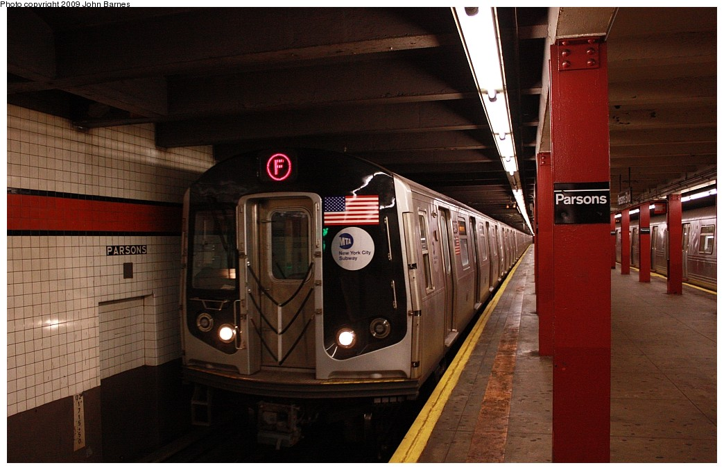 (175k, 1044x677)<br><b>Country:</b> United States<br><b>City:</b> New York<br><b>System:</b> New York City Transit<br><b>Line:</b> IND Queens Boulevard Line<br><b>Location:</b> Parsons Boulevard <br><b>Route:</b> F<br><b>Car:</b> R-160A (Option 1) (Alstom, 2008-2009, 5 car sets)  9347 <br><b>Photo by:</b> John Barnes<br><b>Date:</b> 7/26/2009<br><b>Viewed (this week/total):</b> 2 / 1049