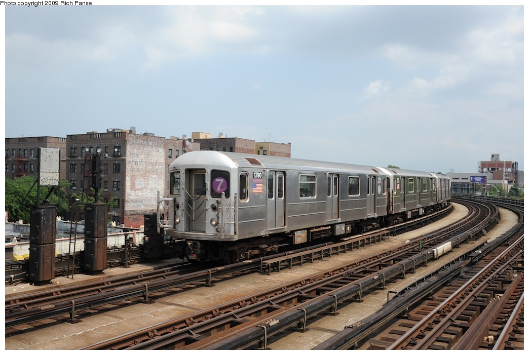 (179k, 1044x701)<br><b>Country:</b> United States<br><b>City:</b> New York<br><b>System:</b> New York City Transit<br><b>Line:</b> IRT Flushing Line<br><b>Location:</b> 46th Street/Bliss Street <br><b>Route:</b> 7<br><b>Car:</b> R-62A (Bombardier, 1984-1987)  1790 <br><b>Photo by:</b> Richard Panse<br><b>Date:</b> 8/3/2009<br><b>Viewed (this week/total):</b> 1 / 977