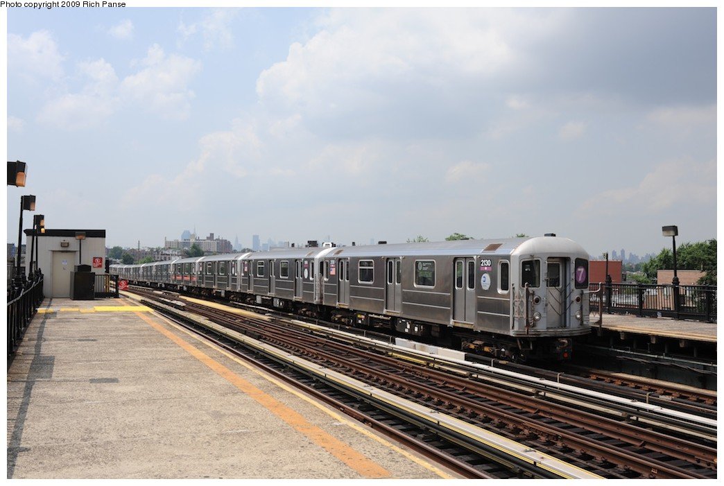 (165k, 1044x701)<br><b>Country:</b> United States<br><b>City:</b> New York<br><b>System:</b> New York City Transit<br><b>Line:</b> IRT Flushing Line<br><b>Location:</b> 69th Street/Fisk Avenue <br><b>Route:</b> 7<br><b>Car:</b> R-62A (Bombardier, 1984-1987)  2130 <br><b>Photo by:</b> Richard Panse<br><b>Date:</b> 8/3/2009<br><b>Viewed (this week/total):</b> 3 / 901