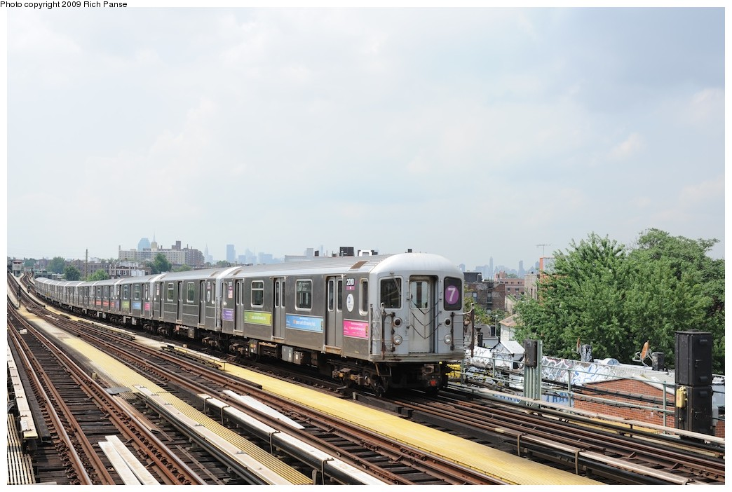 (185k, 1044x702)<br><b>Country:</b> United States<br><b>City:</b> New York<br><b>System:</b> New York City Transit<br><b>Line:</b> IRT Flushing Line<br><b>Location:</b> 69th Street/Fisk Avenue <br><b>Route:</b> 7<br><b>Car:</b> R-62A (Bombardier, 1984-1987)  2010 <br><b>Photo by:</b> Richard Panse<br><b>Date:</b> 8/3/2009<br><b>Viewed (this week/total):</b> 0 / 1143