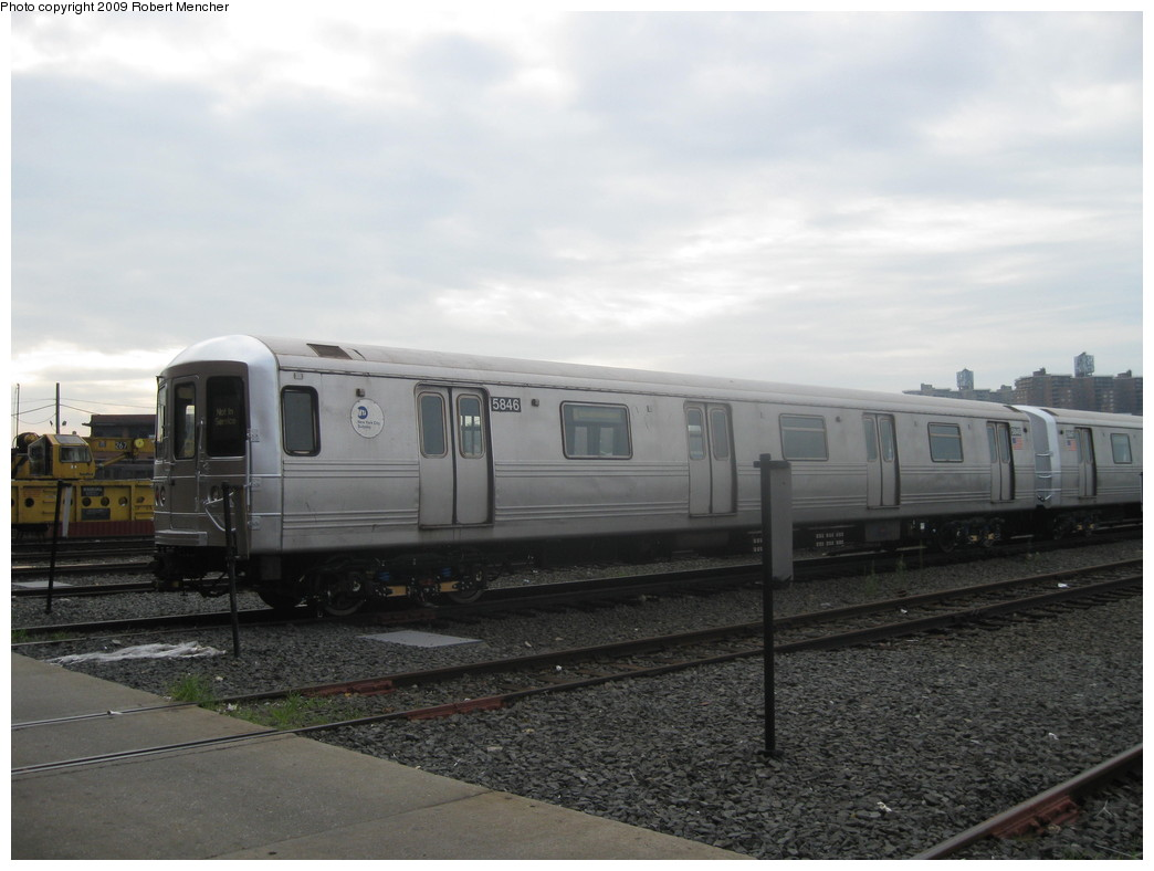(162k, 1044x788)<br><b>Country:</b> United States<br><b>City:</b> New York<br><b>System:</b> New York City Transit<br><b>Location:</b> Coney Island Yard<br><b>Car:</b> R-46 (Pullman-Standard, 1974-75) 5846 <br><b>Photo by:</b> Robert Mencher<br><b>Date:</b> 8/19/2009<br><b>Viewed (this week/total):</b> 0 / 463