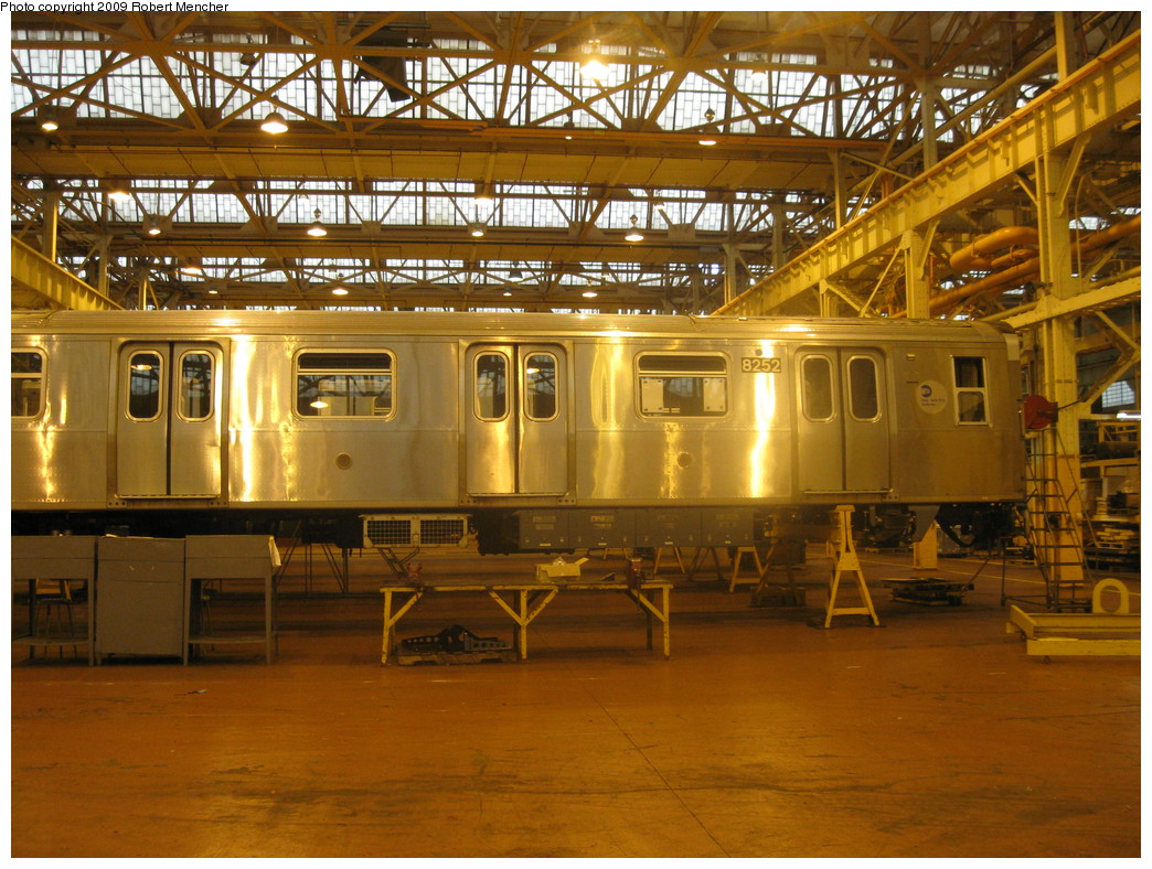 (275k, 1044x788)<br><b>Country:</b> United States<br><b>City:</b> New York<br><b>System:</b> New York City Transit<br><b>Location:</b> Coney Island Shop/Overhaul & Repair Shop<br><b>Car:</b> R-143 (Kawasaki, 2001-2002) 8252 <br><b>Photo by:</b> Robert Mencher<br><b>Date:</b> 8/19/2009<br><b>Viewed (this week/total):</b> 1 / 589
