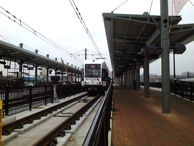 (78k, 640x480)<br><b>Country:</b> United States<br><b>City:</b> Hoboken, NJ<br><b>System:</b> Hudson Bergen Light Rail<br><b>Location:</b> Hoboken <br><b>Car:</b> NJT-HBLR LRV (Kinki-Sharyo, 1998-99)   <br><b>Photo by:</b> Brian J. Cudahy<br><b>Date:</b> 1/26/2003<br><b>Viewed (this week/total):</b> 0 / 193