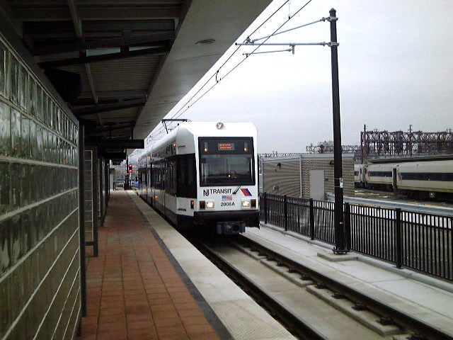 (78k, 640x480)<br><b>Country:</b> United States<br><b>City:</b> Hoboken, NJ<br><b>System:</b> Hudson Bergen Light Rail<br><b>Location:</b> Hoboken <br><b>Car:</b> NJT-HBLR LRV (Kinki-Sharyo, 1998-99)   <br><b>Photo by:</b> Brian J. Cudahy<br><b>Date:</b> 1/26/2003<br><b>Viewed (this week/total):</b> 1 / 245